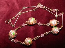 ART DECO PINK MURANO FOIL GLASS LAMP WORK BEAD NECKLACE ~ R G WIRES ~ VENETIAN