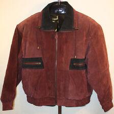 Ash Creek Trading Mens Vintage Burgundy Leather Winter Bomber Jacket Coat Sz L