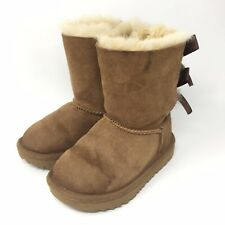 UGG Boots Toddler Girls Size 8 Chestnut Bailey Bow II Sheepskin Lined 1017394T