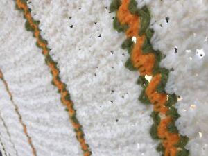 Vtg Ivory Cream Green Orange Stripe Handmade Crochet Afghan Knitted Blanket