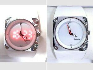 Dakota Volcano Hybrid Watch Digital Analog White Wide Leather Band Silver Case