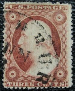 nystamps US Stamp # 26A Used $150 Plate PO.42 EX-Chase   L23x118