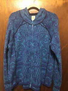 Title Nine Sz XL Full Zip Merino Wool Floral Paisley Sweater Hoodie Thumb Holes