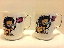 "Royal Albert Coffee Tea Mug ""Lion British Flag"" Bone China England Set of 2"