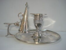 19th Century (1809) English Sterling Chamber Stick With Snuffer Bears Nubian