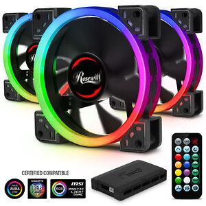120mm RGB Case Fans (3-Pack) and 8-Port Hub Set, Quiet Dual Ring True RGB LED