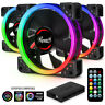 120mm RGB Case Fans (3-Pack) and 8-Port Hub Set, Quiet Dual Ring True RGB LED