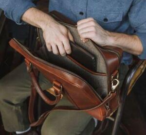 Buffalo Jackson Trading Co. Jefferson Briefcase Laptop Vintage Bag Tan - 50% Off