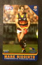 AFL 2004 UNIDIAL MARK RICCIUTO ADELAIDE CROWS 'NEW' PHONE CARD 8.5 X 5.5 cm