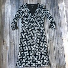 White House Black Market Dress 0 XS Pencil Sheath Monochrome Work Career WHBM