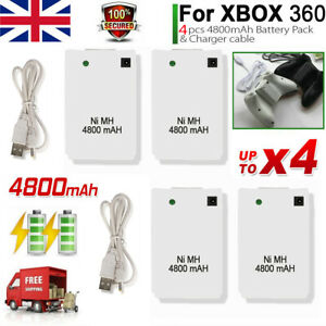 4800mAh Rechargeable Battery Pack USB Charger Cable For XBox 360 Controller 2/4X
