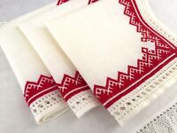 Vintage Ivory Linen Napkins w/Red Stitching, Mountain/Diamond Pattern  Set of 3