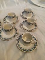 Lot Of 6 Vintage Chinese Teacups Sake Espresso Cup And Saucers Gold Porcelain