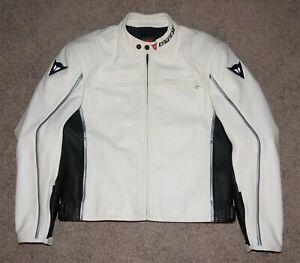 Dainese White Leather Motorcycle Jacket Men's EU 58 US 48 w/ Armor XXL