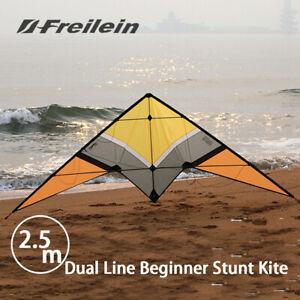 8.2ft Stunt Kite Dual Line Outdoor Power Wrist Straps Dyneema Lines Flying Set