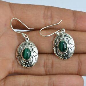 Malachite Dangle Earrings Solid Sterling Silver Handmade Jewelry Valentine Sale