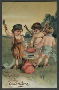 c.1909 PFB Paul Finkenrath Berlin VALENTINE BLACKSMITH CUPIDS FORGING HEARTS