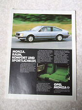 OPEL MONZA COUPE 1979 ADVERT READY TO FRAME A4 SIZE