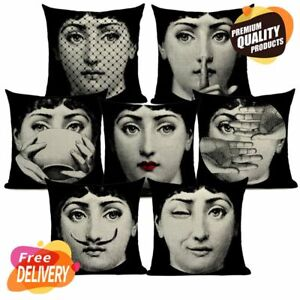 Pillow Case Vintage Style Cotton Linen Cushion Cover Fornasetti Art Face Style