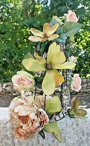 Vintage Bird Cage, Wedding Centerpiece Bird Cage w/Flowers, Vintage Decoration