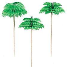12pk Palm Tree Honeycomb Picks 7.6cm Tropical Island Hawaiian Party Tableware