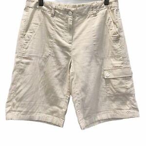 J Jill Bermuda Cargo Shorts Womens Zip Front Pebble Beige 100% Cotton Pockets 4