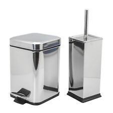 Bathroom Pedal Bin & Toilet Brush / Holder Set, Square Steel - Chrome