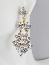 "Clear chandelier earrings hinged dangle post pendant statement  2 1/8"" long"