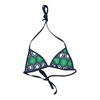 Reversible Triangle Bikini Top Size M Dotted Blue Green  Halter Tie