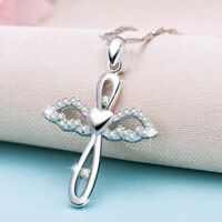 Angel Wings Cross Pendant Necklace Fashion Silver Accessories Jewelry For Women