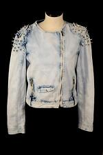 EVENUEL Denim Wash Jean Jacket Spike Punk Shoulders M Zip