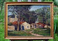 exquisites Ölgemälde Hans Fischer (1896-1989) Jena Hütten im Wald Künstlerarbeit