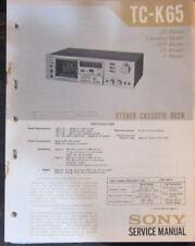 Sony TC-K65 Manual de taller de reparación de servicio Platina de cassette (copia Original)