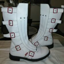 Miss Sixty White Leather Motorcycle Style Buckle boots Sz 39, 9