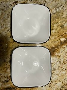 2 Corelle Coordinates Simple Lines soup cereal bowls white with black