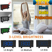 "8"" LCD Digital LED Projector Projection FM Radio Snooze Alarm Clock Dual Alarm"