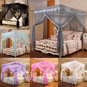 4 Corners Post Bed Canopy Curtain Mosquito Net Frame for Single Double King Size
