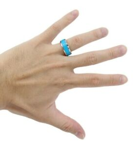 Turquoise Stainless Steel Ring Band - 8mm - Wedding Ring, Unisex, Hawaii