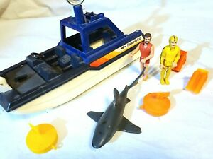 Vintage 1980 Fisher Price Adventure People Sea Shark Patrol Rescue Boat 334 Set