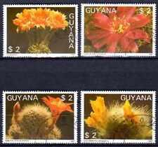 Flore - Cactus Guyane (37) série complète de 4 timbres oblitérés