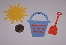 6 Pieces Beach Pail Set Premade PAPER Die Cuts / Scrapbook & Card Making