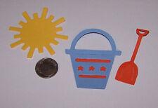 6 Pieces Beach Pail Set Premade PAPER Die Cuts / Scrapbook & Card Making