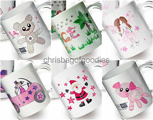 PERSONALISED KIDS Childrens Colourful PLASTIC MUGS Cups Named Gifts for GIRLS