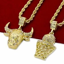 "14K Gold Plated Hip Hop Iced Out Basketball & Bull Pendant w 4mm 24"" Rope Chain"