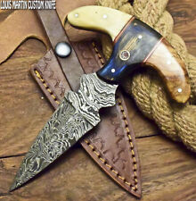 LOUIS MARTIN CUSTOM FIXED BLADE HANDMADE FULL TANG DAMASCUS ART HUNTING KNIFE