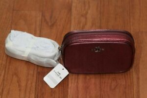 NWT $195 Coach 39940 Metallic Pebble Leather Fanny Pack Belt Bag Berry