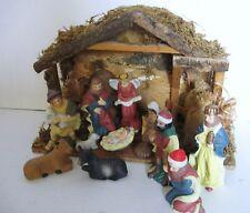 """Vintage 12 pc Nativity Set  w/ Wood Creche 5"""" Porcelain Figurines 1980's IOB"""
