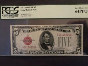 1928E $5 LEGAL TENDER NOTE VERY CHOICE NEW 64PPQ