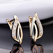 Flame Leaf Crystal Zircon Gold Filled Women Lady Golden Jewelry Hoop Earring BOX