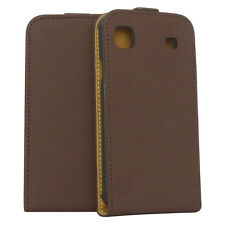 Premium Flip Case Tasche für Samsung i9000 Galaxy S in braun Schutzcase